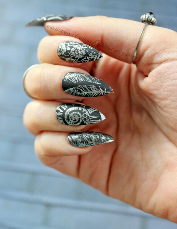 Antique Steampunk Matte Stiletto Press On Nails | Stiletto Nail ...