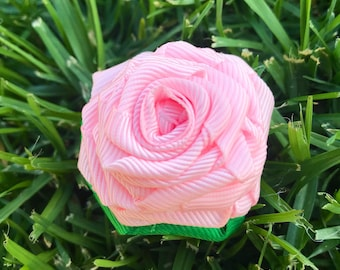 Grosgrain Ribbon Rose hair clip inspired by Valentines Day