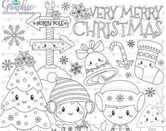 Christmas Stamp, Winter Stamp, Very Merry Christmas, COMMERCIAL USE, Digi Stamp, Digital Stamp, Christmas Digistamp, Coloring Page