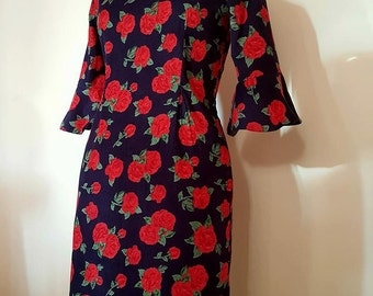 SALE- Rich Corduroy Velvet Dress 3/4 Sleeve mid Length and Square neck line in Deep Blue and Red flower