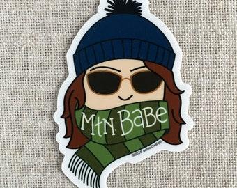 MTN Babe brune vinyle autocollant / montagne Dame autocollant moderne / autocollant / Sticker pour ordinateur portable / fille autocollant imperméable à l'eau autocollant / cadeau pour elle