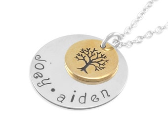 Family Tree Name Necklace, gold and silver, Mother's Day gift pendant sterling silver personalize necklaces birthday gift, family tree, JOEY