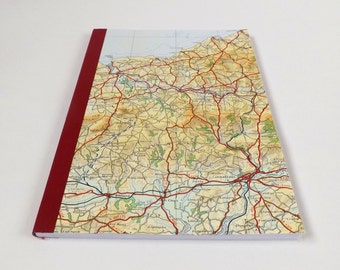 Cardigan - South Wales 1973 #1 - Recycled Vintage Map Handbound Notebook with Upcycled Blank Pages