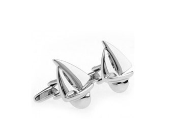 Sail Boat Silver Tone CuffLinks - Best Gift For Dad - Groomsmen Cufflinks - Groomsmen Gifts - Gifts for Him -  Jewelry For Men