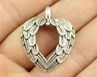 4 Wing Heart Pendant Charms, Antique Silver Tone Charms (1D-255)