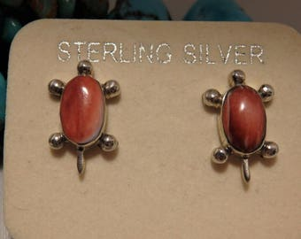 Cute South West Genuine SPINY OYSTER Gems STERLING Silver Post Earrings Turtle Totem