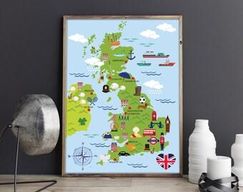 Cute Kids Cartoon Map of United Kingdom Kids Room Wall Art Nursery Print