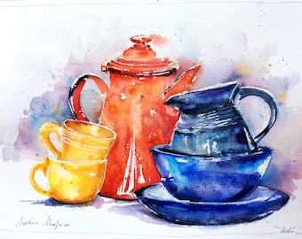 Watercolor original painting - Safe (still life blue red yellow kitchen pottery decorative plate pitcher multicolor)