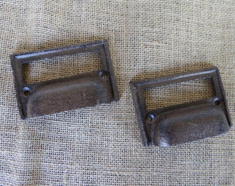 Cast Iron Metal CUP HANDLE File Label  Drawer Pull ~ Rustic Industrial Metal Knob ~ Old World Hardware