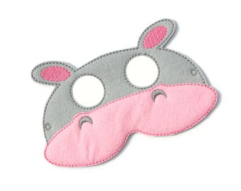 Kids Hippopotamus Mask, Hippo, Costume, Felt Mask, Kids Face Mask, Animal Mask, Halloween Costume, Pretend Play, Dress Up, Party Favors