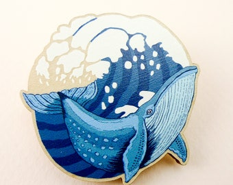 Whale pin, whale gift, animal art, animal jewelry, whale jewelry, whale, whale brooch, quirky pin, wooden pin, animal brooch, blue whale