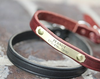 Leather Collar with Name, Small Dog Collar, Leather Collar Personalized, Puppy Collar, Personalized Dog Collar, Engraved Dog Collar