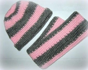 Set 9-18 months scarf and hat gray pink