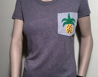 Pineapple Pocket Shirt | Pineapple Pocket | Pocket Unisex | Pocket Tshirt | Womens Pocket Tee | Mens Pockets Tshirt | Pineapple Pocket Tee