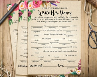 Printable Bridal Shower Games - Printable Bohemian Bridal Shower Game - Help The Bride To Be Write Her Vows Boho Bridal Shower Game s 003