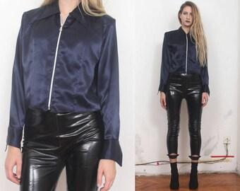 90s navy satn minimal structural zip up crop top shirt s m