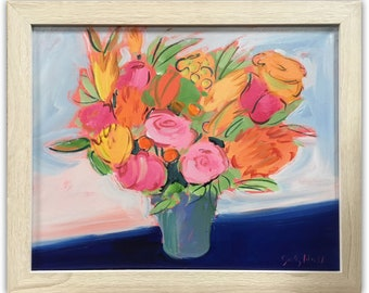 Mixed Bouquet by Sally Huss. Original acrylic painting on canvas with white-washed wooden frame (no glass). Outside dimensions 20x24.