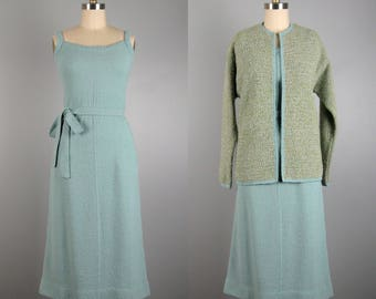 Vintage 1950s BONNIE CASHIN Dress and Jacket Set 50s Misty Blue Wool Knit Dress with Coordinating Jacket Size M/L