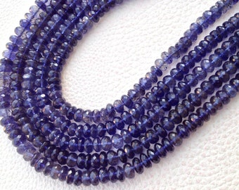 Brand New, Full 8 Inch Strand, WATER SAPPHIRE IOLITE Micro Faceted Rondells, 5-6mm Size,Great Quality at Low Price
