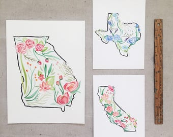 Custom Floral State Map