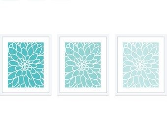 Dahlia Wall Art Dahlia Print Set of 3 Modern Decor Modern Flower Print Blue Bedroom Wall Art Bedroom Decor Blue Flower Prints Aldari Art