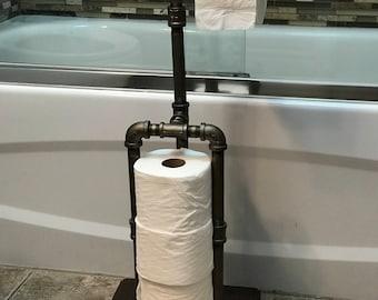 Vintage Freestanding Toilet Paper holder with storage - Industrial design toilet roll storage
