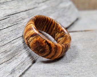 Wooden Ring - Womens Wooden Ring - Mens Wooden Ring - Bocote Wood - Wooden Rings For Men - Wooden Wedding Band - Mens Engagement Ring