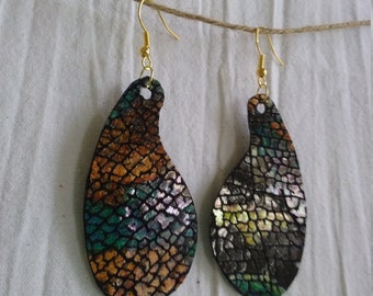 Leather Earrings Pierced or Clip on Black Animal Print Double sided
