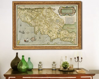 "Map of Tuscany 1570, Vintage map of Tuscany, Italy, 4 sizes up to 54x36"" (140x90 cm) Tuscany, Florence, Pisa, Siena - Limited Edition of 100"