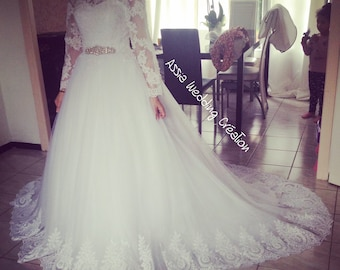 long sleeves wedding dress lace dress