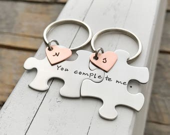 custom puzzle piece key chains his and hers you complete me  gift for him gift for her jewelry