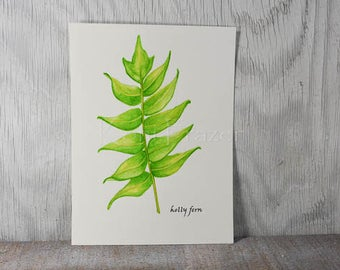 Fern watercolor painting, fern art, holly fern original watercolor painting, 9x12