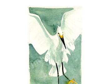 Watercolor Egret, Egret Print