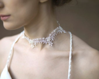 Lace necklace wedding neck piece bridal jewelry FREE SHIPPING