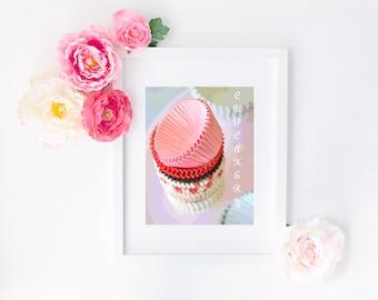 Cupcakery Digital Art Print - Instant Download, Cupcake Art, Bakery, Pink, Cake, Nursery Art, Baby Girl, Typography, Home Decor, Birthday