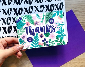 Colourful Floral Thanks Card / Thank You Card / Floral Thanks Card / Colourful Thanks / Quirky Card /  Flower Power