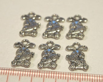 Antique silver bunny and carrot metal charms