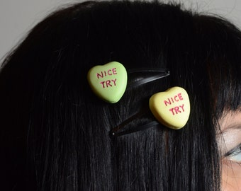 Gothic Lolita Candy Heart Pendant  two barette set- hair clip Rockabilly Psychobilly