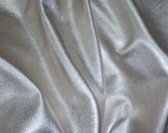 """SILVER Metallic 20""""x20"""" SOFT pebbled cowhide - shows the grain - Leather 3-3.25 oz / 1.2-1.3 mm PeggySueAlso™ E4100-03 Full hides available"""
