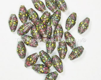 Paper Beads Loose Handmade Supplies Hearts on Black