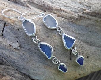 Blue and White Bezel Set Sea Glass Dangle Earrings