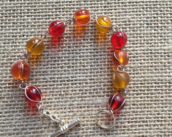 Wire wrapped bracelet, Red and orange Beaded wire wrap bracelet, Wire link wrapped beaded bracelet.