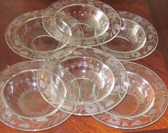 Vin. Set of 6 Etched Glass Small Bowls