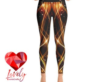 Hot Yoga Leggings, Printed Leggings, Fire Print Yoga Leggings, Womens Leggings, Yoga Leggings, Workout Leggings, Fashion Leggings