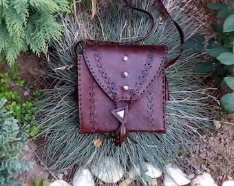 Vintage Leather Bag, Womans Purse, Brown Leather Bag, Genuine Brown Leather Bag, Small Bag, Sholder Bag