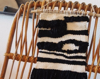 Wall weaving black and cream