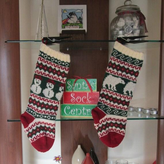 Knitting Pattern Fair Isle Christmas Stockings Snowman and