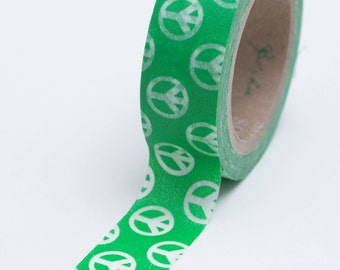 Washi Tape - 15mm - Peace Sign Bright Green - Deco Paper Tape No. 695