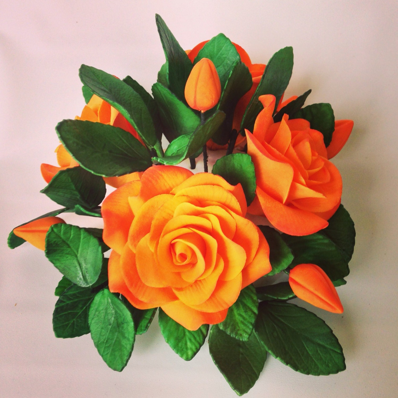 Sugar Flower Cake Topper Arrangement Orange And Yellow Gumpaste