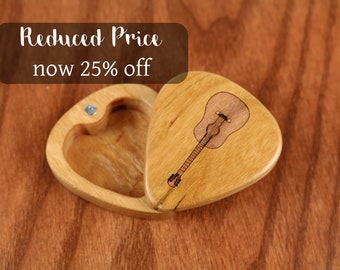 "DISCONTINUED - REDUCED PRICE, Slender Guitar Pick Box, Acoustic, 2-1/4"" x 2"" x 3/4""D, Solid Cherrywood, Laser Engraved, Paul Szewc"